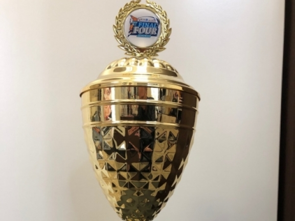 The trophy for the Balkan League winner is presented